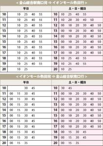 イオン熱田 シャトルバス 時刻表